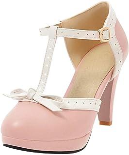 8fbf9369 Coolulu Mujer Zapatos de Tacón Alto con Plataforma Punta Cerrada Tira al  Tobillo con Hebilla Calzado