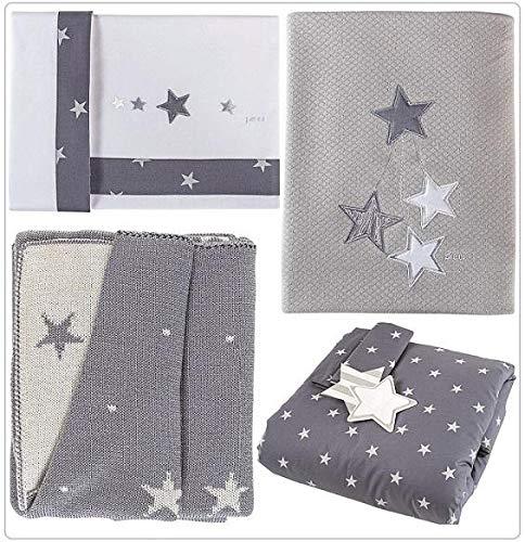Draps Berceau étoile blanc/gris