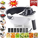 New 9 in 1 Multifunction Magic Rotate Vegetable Cutter with Drain Basket Large Capacity Vegetables Chopper Veggie Shredder Grater Portable Slicer Kitchen Tool with 8 Dicing Blades