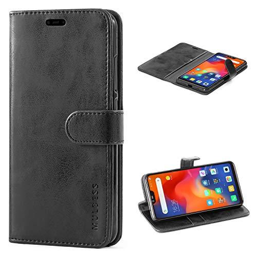 Mulbess Handyhülle für Xiaomi Mi 8 Lite Hülle Leder, Xiaomi Mi 8 Lite Handy Hüllen, Vintage Flip Handytasche Schutzhülle für Xiaomi Mi 8 Lite Hülle, Schwarz
