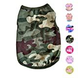 Alroman Dog Shirts Pet Shirts Dog T-Shirt Puppy Tee Dog Vest Puppy Vest Pet Clothes for Small Dogs and Cats Doggie Camouflage Shirt Puppy Summer Apparel Dogs Army Green Camo Shirt Pet Beach Wear(M)