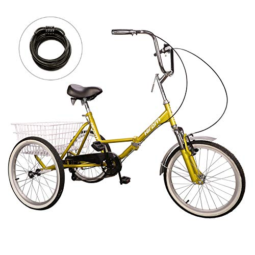 HIRAM Adult Tricycle Trike Cruise Bike Three-Wheeled Bicycle with Large Size Basket for Recreation,...