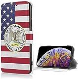 Romance-and-Beauty Funda Seal of New Mexico para iPhone X/XS Funda Tipo Cartera de Cuero PU de Lujo Funda con Tapa Tipo Folio con Ranuras para Tarjetas Correa de muñeca