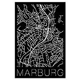 artboxONE Poster 45x30 cm Städte Retro Map of Marburg
