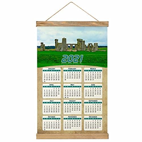 "Reino Unido Inglaterra Stonehenge Salisbury Imprimir Póster Calendario de Pared 2021 12 Meses Pintura decorativa Cuadros Colgantes Lienzo Madera 20.4 ""x 13.1"" GL-UK-6083"