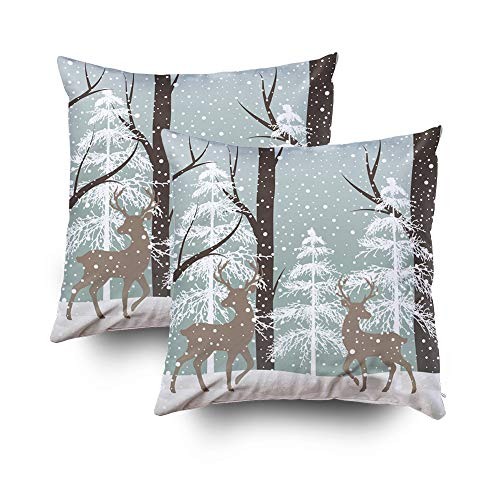 GROOTEY Christmas Decorative Cotton Square Set of 2 Pillow Case Covers with Zippered Closing for Home Sofa Decor Size 18X18 Costom Pillowcse Throw Cover Cushion,Landscape Deers Snow Tree,Ivory Gold