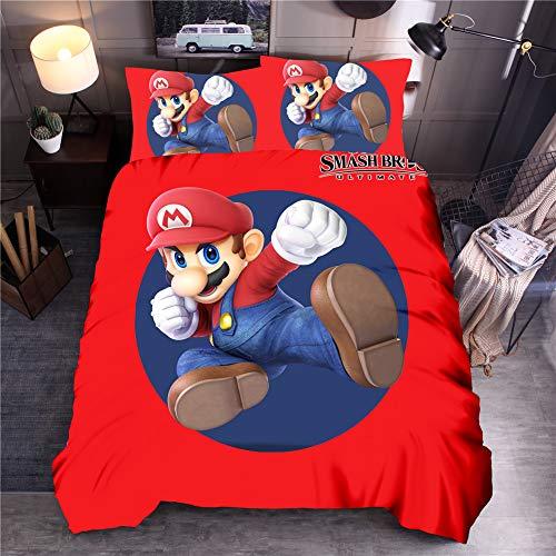 Juego de ropa de cama Yomoco Mario Game – Funda nórdica y funda de almohada, microfibra, impresión digital 3D, juego de cama de tres piezas, 01, Single 135x200cm