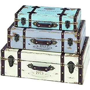 Benzara 93776 Trunk with Exceptional Looks and Intrinsic Details, Set of 3:Diet-beauty