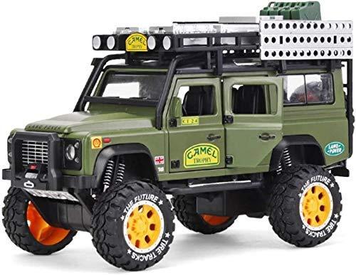 ZKDX Juguete 1:28 verdadera reducción de fundición a presión de aleación de Land Rover Defender-o-Terreno Modelo niños con luz y Sonido Real de cobro, Verde MXY