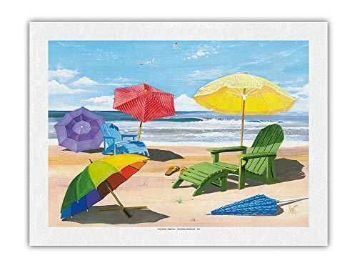 Pantalla Solar - Sillas de Playa, sombrillas y Vista al mar - De Pintura en Color de Scott Westmoreland - Impresión de Arte Papel Premium de Arroz Unryu 46x61cm