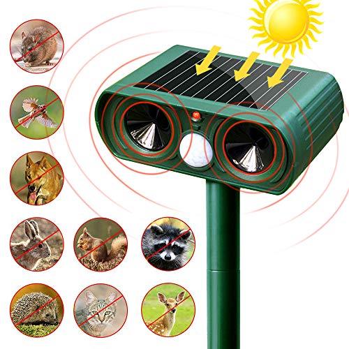 SunTop Solar Auyentador para Gatos, Repelente ultrasónico para Animales,con LED,Carga Solar,ristente al...
