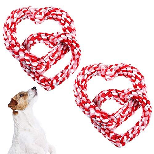 2 Valentines Giocattoli Da Masticare per cani a Forma di Cuore Giocattoli per Cani a Forma di Cuore Giocattoli Da Masticare Durevoli per Animali Domestici Giocattoli per Animali Domestici