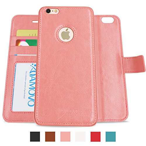 AMOVO Case for iPhone X [2 in 1], iPhone X Wallet Case [Detachable Folio] iPhone X Leather Case [Premium Vegan Leather] Flip Case Cover for iPhone X with Gift Box Package (Pink)