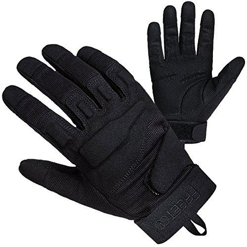 FREETOO taktische Handschuhe Motorrad Handschuhe Herren Vollfinger Handschuhe mit gepolstertem Rückenseite geeignet für Airsoft Militär Paintball Motorrad Fahrrad und andere Outdoor Aktivitäten (Schwarz, XL)