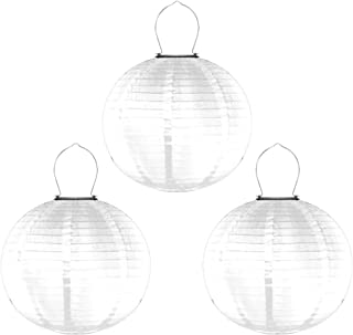 Mobestech 3PCS 12 Inches Solar Lanterns Outdoor Waterproof Nylon Lantern Decorative Solar Powered Chinese Lantern for Gard...