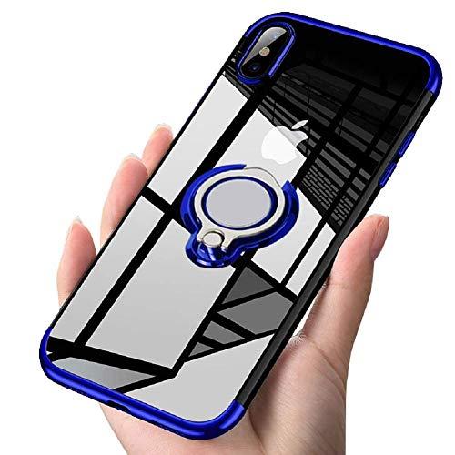 BtDuck azul funci/ón atril Funda para Huawei P20 Lite con tapa semitransparente de efecto espejo color morado