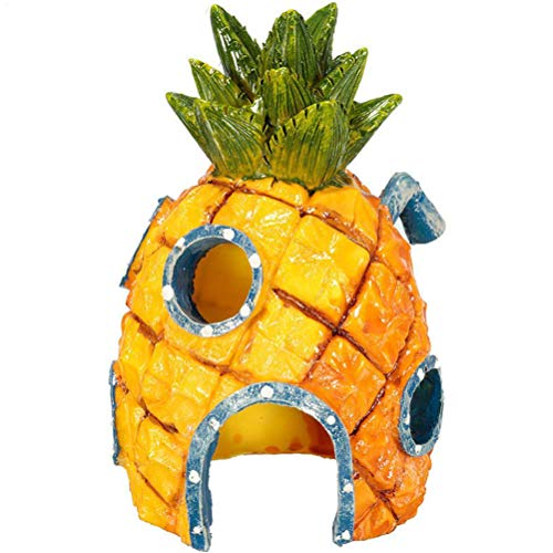 BSTCAR Fish Tank Ornament, Resin Pineapple House Safe House Spongebob Aquarium Ornaments Landscape Underwater Decoration