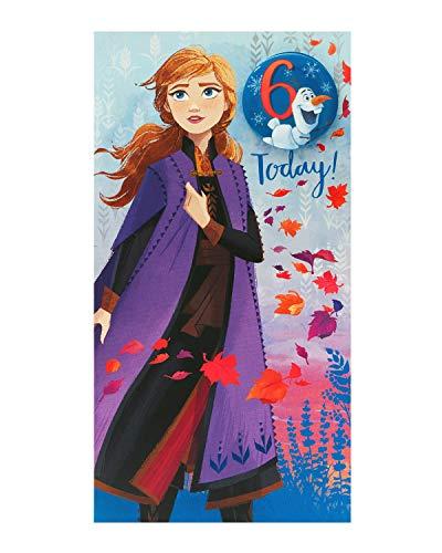 Geburtstagskarte zum 6. Geburtstag für Mädchen – Frozen Geburtstagskarte – 3. Geburtstag – Prinzessin Anna Design – Anstecker enthalten