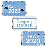 Class of 2020 Graduation Mini Candy Bar Wrappers - 45 Stickers (Light Blue)