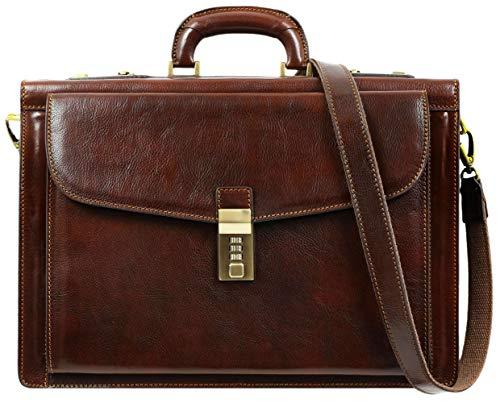 안전 잠금 장치가있는 남자를위한 가죽 서류 가방 손수 만든 이탈리아 노트북 가방 고급 갈색 첨부 케이스 - 시간 저항