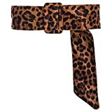 CHICING Velvet Leopard Belts for Women Trendy Obi Cinch Boho Fabric Belts Strap (L-XL(30'-36'), Deep leopard)
