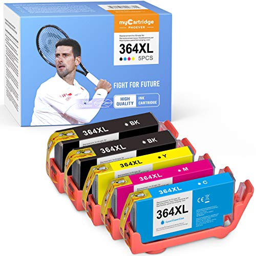 MyCartridge PHOEVER Cartuchos de tinta 364XL compatibles con HP 364 XL para HP Photosmart 5520 5510 7520 5524 5524 5515 6510 6520 HP Deskjet 3520 3070A HP Officejet 4620 4622 (5 unidades)