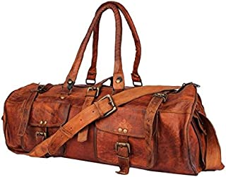 TUZECH Hard Bound Heavy Duty Exclusive Pure Leather 2 Pocket Duffel Bag - 22 Inches