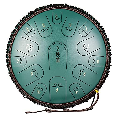 N&G Home Decor Tambor de Lengua de Acero con 15 Notas Instrumento de percusión armónico Handpan de 14 Pulgadas con mazos Bolsa de Viaje para meditación Yoga y Zen Fabricado en EE. UU. (Color: B)