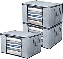 BoxLegend Clothes Storage Bags Large Capacity Organizer with Reinforced Handle Thick Fabric Large Clear Window (3pack)