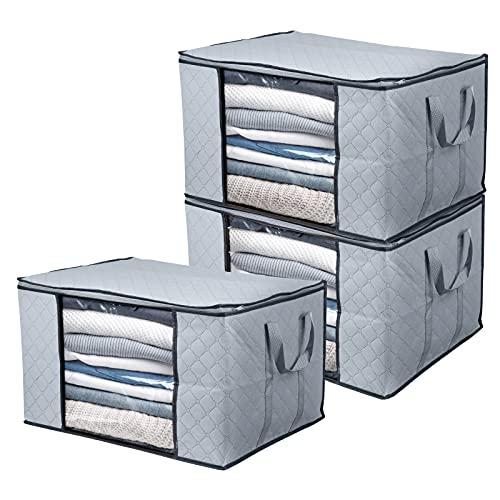 BoxLegend Bolsa de Almacenamiento de Ropa Organizador de Gran Capacidad con asa Reforzada Tela Gruesa Ventana Transparente Grande para edredones, Mantas, Ropa de Cama, Paquete de 3, 90L