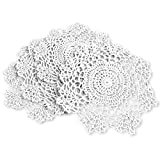 gracebuy Pack of 4PCS White 7 Inch Round Handmade Crochet Lace Placemats Coasters