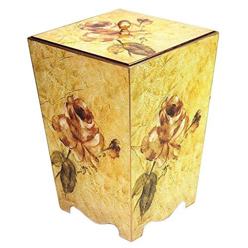 Afvalemmer van hout, creatieve prullenbak in retro-design, idylllische decoratie, duurzaam met deksel (8 l).