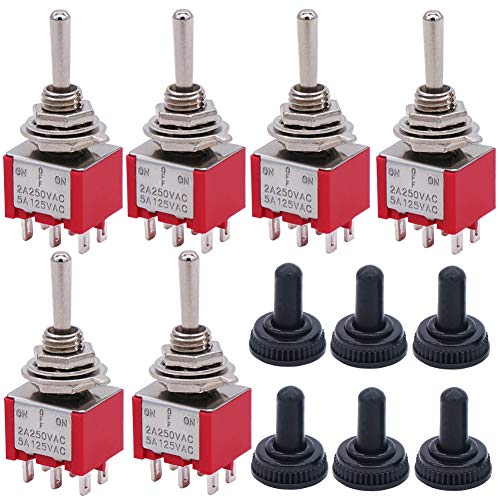 Twidec/6Pcs Mini Momentary Toggle Switch DPDT 3 Position 6 Pins (0N)-Off-(ON) Miniature Toggle Switch AC 5A/125V 2A/250V Car Boat Switches with Waterproof Cap MTS-223-MZ