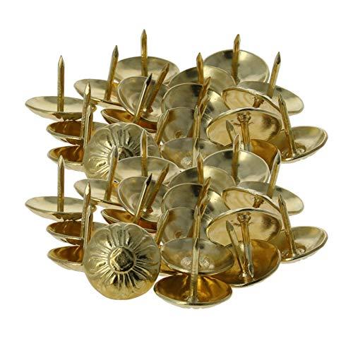 MroMax - Clavos para tapicería (16 mm, diámetro de la cabeza, redondos, para el pulgar, tono amarillo, para muebles, sofás, cabeceros, 40 unidades)