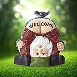 Gartendeko Figuren Gartenzwerg Lustig Garten Deko Gartenzwerge Wetterfest für Außen Lustige Karikatur Willkommen Zwergharz Handwerk Figur Ornament Hausgarten Dekor