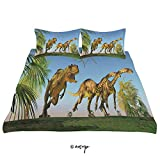 ALUONI 3 Piece Queen/King Size Bedroom Decor 2 Massospondylus Running for Their Lives Yangchuanosaurus Quilts Cover with 2 Pillow Cover for Children Teen Boy Adult Beding Set (Queen) AM33803