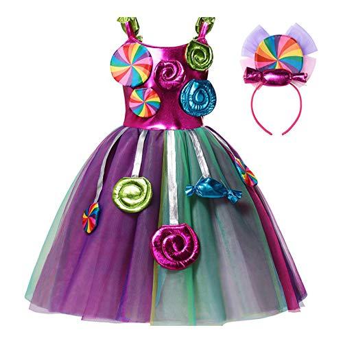 iiniim Vestido de Fiesta para Nia Disfraz de Carnaval Vestido de Fiesta Vestido de Princesa Caramelo Party Outfits Multicolor 3-4 aos