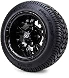 10' Vampire Glossy Black Golf Cart Wheels and Low Profile Tires Combo Set of 4