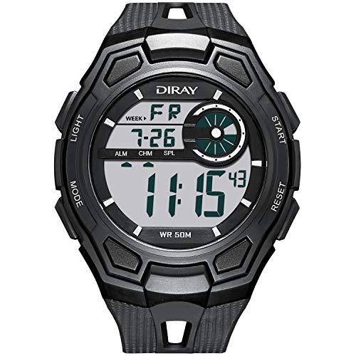 Men's Digital Sports Wrist Watch for Men, Large Face LED Backlight Screen Waterproof Stopwatch Alarm Casual Luminous Electronic Simple Watches (Black)
