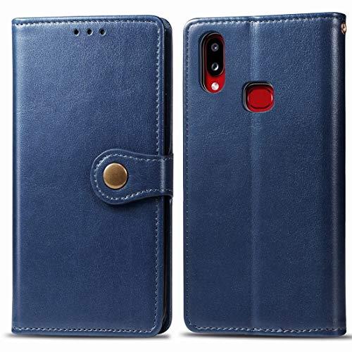 Mingxian For Galaxy A10S Cuero Color Hebilla Teléfono Retro sólido con Correa y Marco de la Foto y la Tarjeta de Ranura y Monedero y Soporte de Funciones (Brown) (Color : Blue)