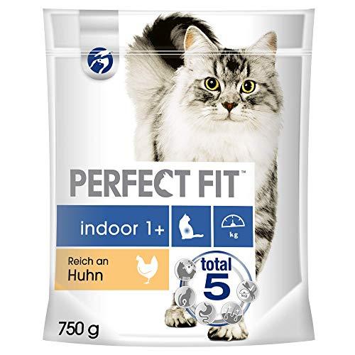 Perfect Fit Katzenfutter Trockenfutter Indoor für Hauskatzen Adult 1+ Reich an Huhn, 1 Beutel (1 x 750g)