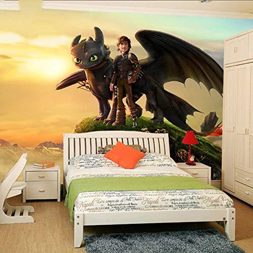 XCHBH Tapete Selbstklebende Tapete Wandbild (B) 300X (H) 210Cm Comicfigur Your Dragon Fototapete 3D Comic Tapete Wandbild Designer Art Boy Kind Raumdekoration Boy Ld