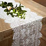 Fowecelt 10 Pack Lace Table Runner 14 × 120 Inch White Classy for Rustic Boho Wedding Bridal Shower Party Decorations, Rose Vintage Embroidered Reception Table Runners Decor
