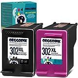 Oeggoink Cartuchos de impresora remanufacturados compatibles para HP 302 XL 302XL para HP Deskjet 3630 3636 2130 1110 Envy 4525 4520 4524 4527 Officejet 4650 4658 3833 (1 negro, 1 color)