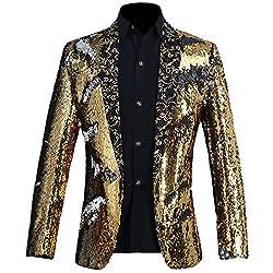 Gold + Silver Color Conversion Shiny Sequins Blazer