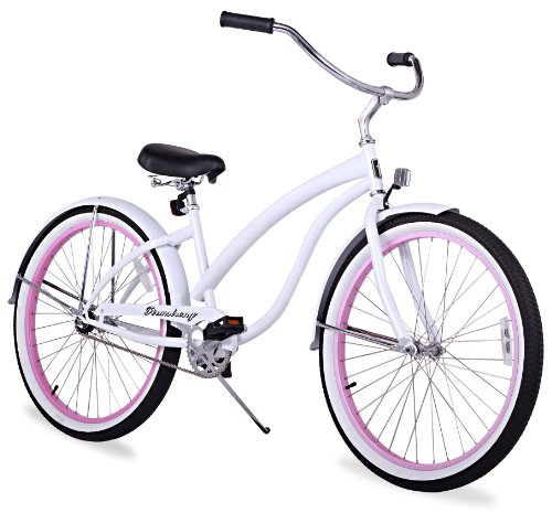 Firmstrong Bella Fashionista Single Speed Beach Cruiser Bicycle, 26-Inch, White/Pink Rims