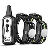 Bousnic Dog Training Collar with Remote for 2 Dogs - Upgraded Rainproof Dog Electric Shock Collar with Beep Vibration and Shock for Small Medium Large Dogs (15-120 lbs, Battery Operated)