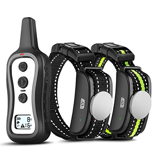 Bousnic Dog Training Collar with Remote for 2 Dogs - 984FT Range IPX5 Rainproof e Shock Collar with Beep Vibration and Shock for Small Medium Large Dogs (15-120 lbs, Battery Operated)