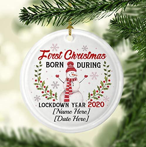 None-brands Christmas Xmas Decor 2020 Ornament Personalized First Xmas Born During Lockdown Year 2020 Holiday Circle Ornament Keepsake Xmas 2020