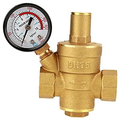 Pressure Reducing Valve, DN15 1/2inch Brass Water Pressure Reducing Valve 1/2'' Adjustable Water Control Pressure Regulator Valve Thread with Gauge Meter by Keenso